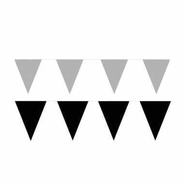 Zwart/zilveren feest punt vlaggetjes pakket 60 meter- feestje!