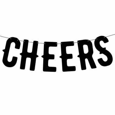 Zwarte banner feestslinger cheers feestje