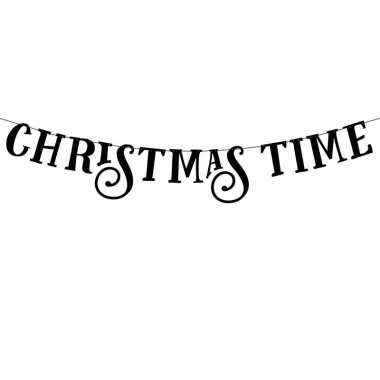 Zwarte banner feestslinger christmas time feestje