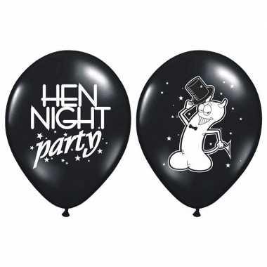 Zwarte vrijgezellenfeest ballonnen 6 stuks - feestje!