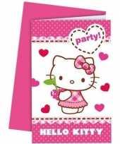 12x hello kitty themafeest uitnodigingen 14 cm feestje
