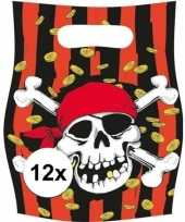 12x piraten themafeest feestzakjes uitdeelzakjes jolly roger feestje
