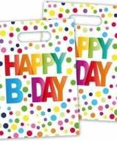 16x happy b day feestzakjes met stippen 22 cm feestje