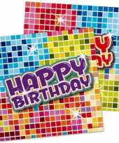 16x happy birthday themafeest servetten 25 x 25 cm feestje