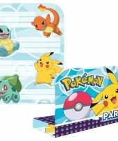 16x pokemon themafeest uitnodingen kaarten feestje