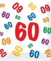 16x stuks 60 jaar thema leeftijd feest servetten 33 x 33 cm feestje