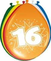16x stuks ballonnen 16 jaar feestje