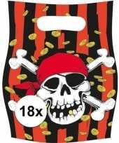 18x piraten themafeest feestzakjes uitdeelzakjes jolly roger feestje
