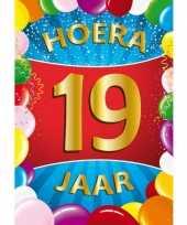 19 jaar mega deurposter 59 x 84 cm leeftijd verjaardag feestartikelen feestje