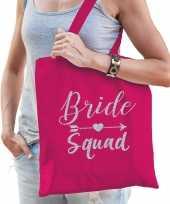 1x vrijgezellenfeest bride squad tasje roze zilver goodiebag dames feestje