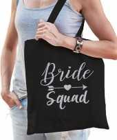 1x vrijgezellenfeest bride squad tasje zwart zilver goodiebag dames feestje