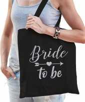 1x vrijgezellenfeest bride to be tasje zwart zilver goodiebag dames feestje