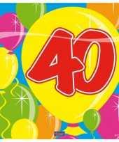 20x 40 jaar leeftijd themafeest servetten balloons 25 x 25 cm feestje