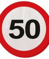 20x 50 jaar leeftijd themafeest servetten verkeersbord 33 cm ron feestje