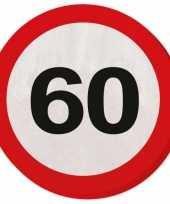 20x 60 jaar leeftijd themafeest servetten verkeersbord 33 cm ron feestje