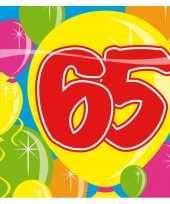 20x 65 jaar leeftijd themafeest servetten balloons 25 x 25 cm feestje