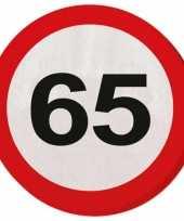 20x 65 jaar leeftijd themafeest servetten verkeersbord 33 cm ron feestje
