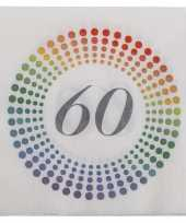 20x leeftijd 60 jaar themafeest verjaardag servetten 33 x 33 cm confetti feestje