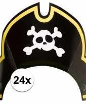 24x piraten themafeest feesthoedjes kapitein feestje