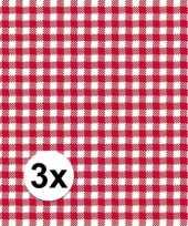 3x verpakking oktoberfest feestservetten geruit rood wit 3 laags 20 stuks feestje