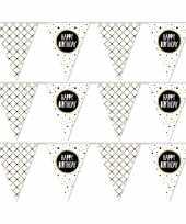 3x vlaggenlijnen happy birthday metallic feest slinger 10 meter feestje