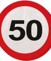 40x 50 jaar leeftijd themafeest servetten verkeersbord 33 cm ron feestje