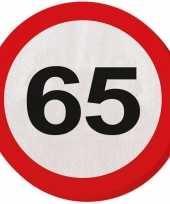 40x 65 jaar leeftijd themafeest servetten verkeersbord 33 cm ron feestje