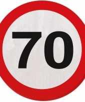 40x 70 jaar leeftijd themafeest servetten verkeersbord 33 cm ron feestje