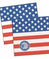 40x amerikaanse vlag usa themafeest servetten 25 x 25 cm feestje
