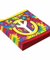 48x hippie sixties themafeest servetten 33 cm feestje