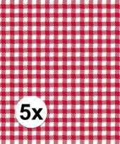 5x verpakking oktoberfest feestservetten geruit rood wit 3 laags 20 stuks feestje