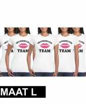 5x vrijgezellenfeest team t-shirt wit dames maat l feestje