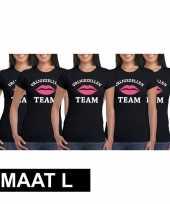 5x vrijgezellenfeest team t-shirt zwart dames maat l feestje