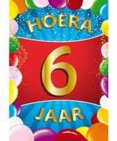 6 jaar mega deurposter 59 x 84 cm leeftijd verjaardag feestartikelen feestje