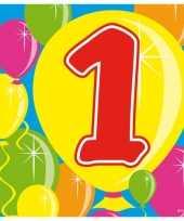 60x 1 jaar leeftijd themafeest servetten balloons 25 x 25 cm feestje