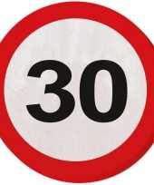 60x 30 jaar leeftijd themafeest servetten verkeersbord 33 cm ron feestje