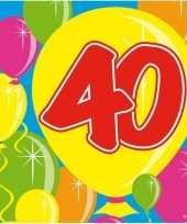 60x 40 jaar leeftijd themafeest servetten balloons 25 x 25 cm feestje