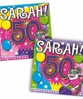 60x 50 jaar sarah leeftijd feest servetten 25 x 25 cm feestje