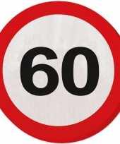 60x 60 jaar leeftijd themafeest servetten verkeersbord 33 cm ron feestje