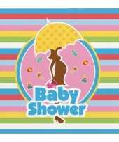 60x babyshower feest servetten gekleurd 25 x 25 cm papier feestje