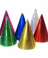60x gekleurde papieren feesthoedjes holografisch feestje