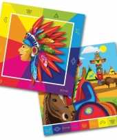 60x indianen western themafeest servetten 33 x 33 cm papier feestje