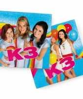 60x k3 themafeest servetten blauw 33 x 33 cm papier feestje