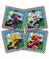 60x race formule 1 themafeest servetten gekleurd 33 x 33 cm feestje