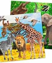 60x safari jungle themafeest servetjes 33 cm feestje