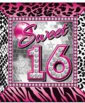 60x sweet 16 themafeest servetten 25 x 25 cm papier feestje