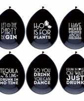 6x ballonnen zwart met drank quotes feest ballonnen feestje