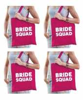 6x bride squad vrijgezellenfeest tasje roze goodiebag dames feestje