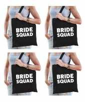 6x bride squad vrijgezellenfeest tasje zwart goodiebag dames feestje