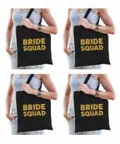 6x bride squad vrijgezellenfeest tasje zwart goud goodiebag dames feestje